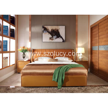 Solid wood modern soft bed